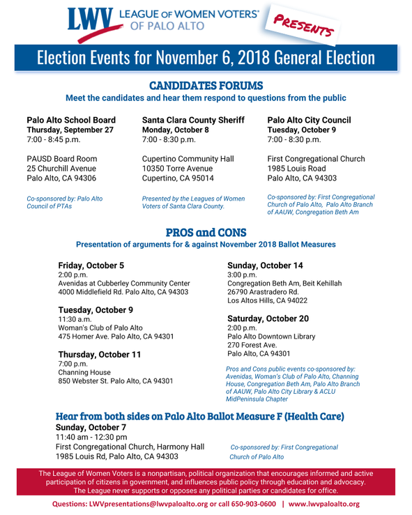 candidate forums and pros cons of november ballot upcoming