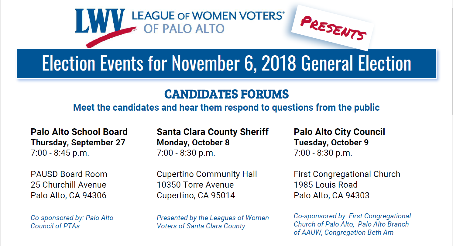 Election 2018 - League of Women Voters of Palo Alto